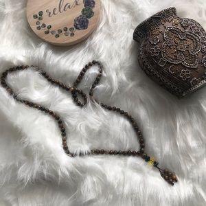 Tibetan Mala Prayer Meditation Tiger Eye Necklace